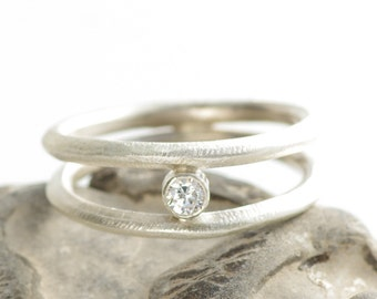 Diamond In The Rough Double Shank Stacking Ring