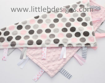 Pink and Gray Mod Dot Minky with Light Pink Tag Blanket  Ribbon Lovey - Personalized