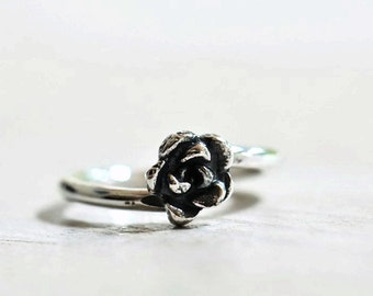 Rose ring sterling silver, made to order ring, succulent ring, silver rose ring, customizable ring