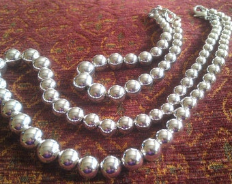 Hand Made Sterling Silver Shimmering Mirror Ball Necklace With matching Bracelet