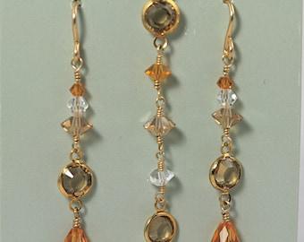 Gold filled Swarovski earrings