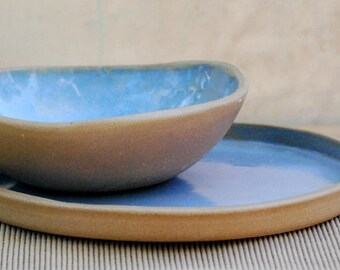 ceramic plateand bowl set , blue pottery dish,  and bowl set in blue, organic home, wedding gift