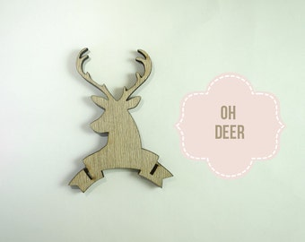 Laser Cut Stag Head Wood Banner - Cut out Blanks