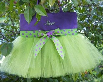 tutu tote bag,Embroidered dance bag, Purple MINI Tote Bag, Dance bag, wedding tote bag, flowergirl tote bag, Personalized tote bag MTB55  BP