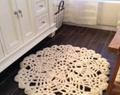 Round Area Rug Hand Crochet Chunky Knit Doily Rug
