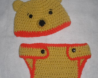 Crochet Winnie the Pooh Bear Diaper Cover and Hat Set Photo Prop Costume