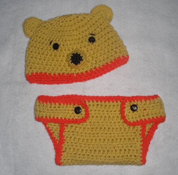 Crochet Pooh Bear Hat Pattern : Crochet Winnie the Pooh Bear Diaper Cover and Hat Set Photo