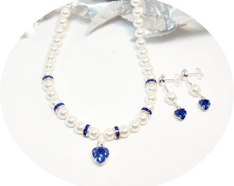 Sapphire Blue, Pearls, Flower Girl Jewelry, Pageant,  KIds Jewelry, September Birthstone,  Heart, Holiday Jewelry, Necklace, Earrings, Blue