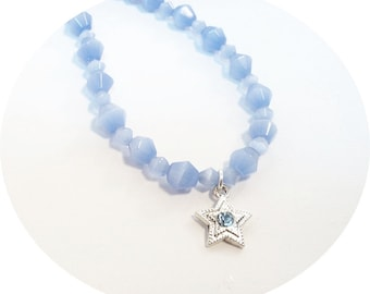 Necklace, Blue Necklace, Star Necklace, Kids Jewelry, Little Girl Jewelry, Toddler Jewelry, Blue Jewelry, Girls Necklace, Star Jewelry