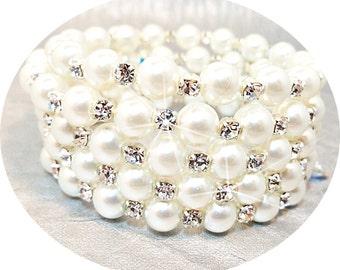 Bridal Bracelet, Pearls and Rhinestones, Memory Wire, Cuff Bracelet, Wide Bracelet, Bridal Accessories, Wedding Jewelry, Sparkly, Bracelet