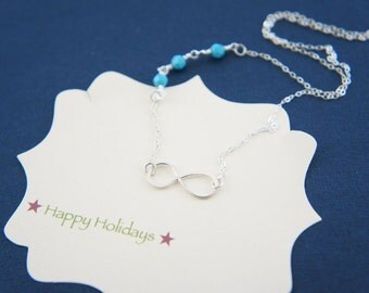 silver infinity necklace with birthstone - bridesmaids gift, wedding, modern, casual, everyday, layered necklace, trendy