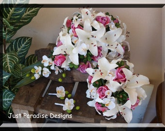 Silk Wedding Flowers - Bouquet Package - White and pink