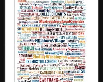 Nashville Map - Typography Neighborhoods of Nashville Poster Print