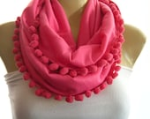 Lipstick pink, infinity scarf with  Pompoms, pink pompom scarf, Necklace Scarf, Lipstick Pink cowl