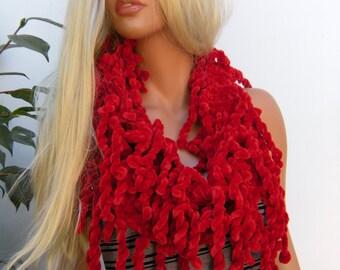 Red Velvet    Hand knitted   fringe scarf  Infinity scarf  Loop scarf- Luxurious velvet fringe Scarf......