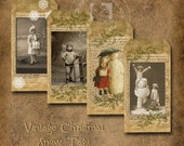 Vintage Christmas Snow Tags Sepia  Printable Digital Download