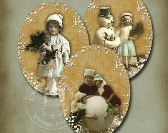 Vintage  Christmas Oval Tags  Printable Digital Download