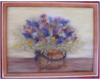 Flowers in a copper pot - wool fiber art, wall hanging, wool picture