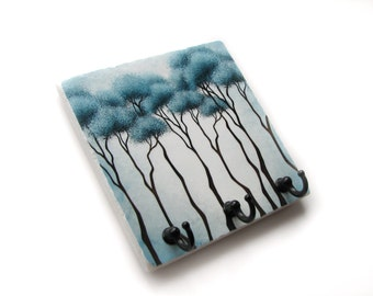 Blue Tree Wall Decor Key Holder, Decorative Tile, Key Hook Jewelry Organizer, Key Rack (30)