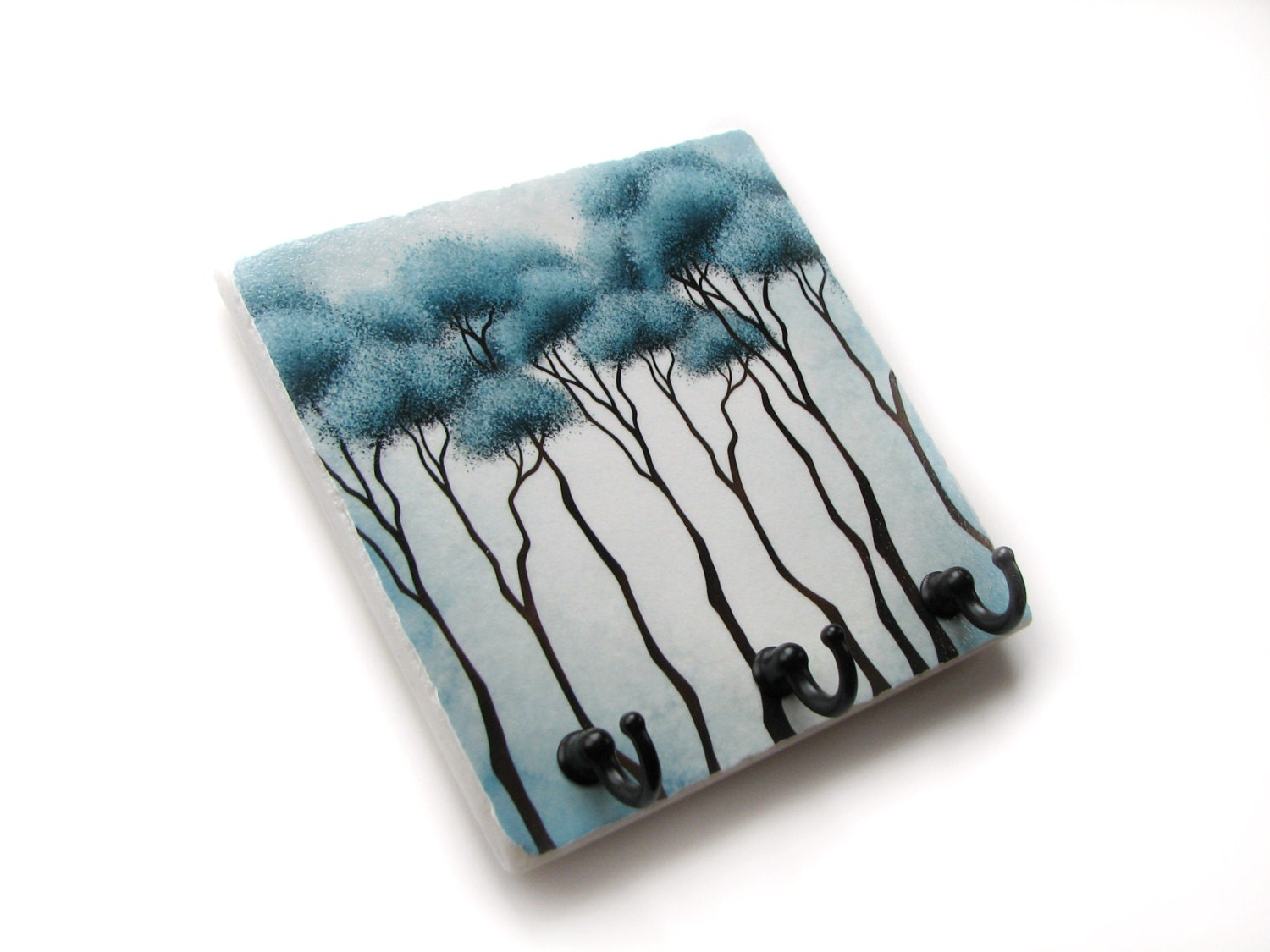 Blue tree wall decor key holder decorative tile key hook for Mural key holder