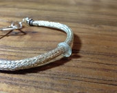 Viking Knit Series: Knitted Sterling Silver Bracelet with Faceted Aquamarine Ring