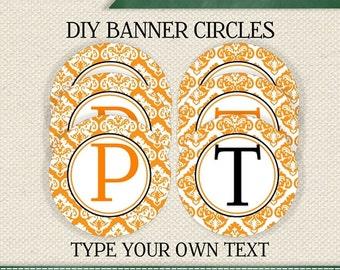 HALLOWEEN  EDITABLE  INSTANT Download Printable Editable Orange Damask Circle Banner (Digital File)