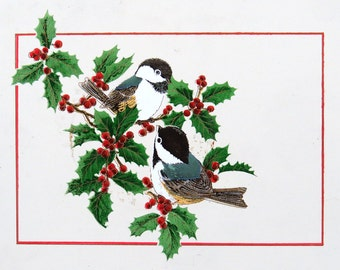 Vintage Serving Tray for Christmas - Chickadee Birds Wildlife Design Holly Holiday Celebration Serving Plate Food Feast and Dinner 6x8x.5