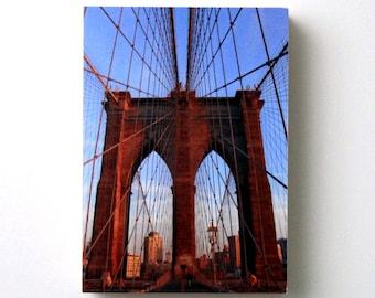 Brooklyn Bridge, New York City, Cityscape, 5X7 Wood Panel, Fine Art Photography, Urban Landscape Wall Art, Shelf Art, Ready to Hang