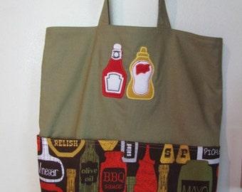Condiment Picnic Summer Tote, Eco Friendly, Purse, Bag Embroidered