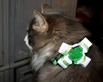 St Patricks Shamrock Collar WITH matching Bow