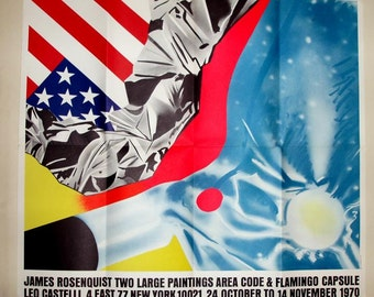 1970 JAMES ROSENQUIST art POSTER Leo Castelli gallery,vg condition, painting, pop art, red, turquoise,black