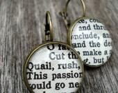Shakespeare Earrings, Vintage Book Jewellery