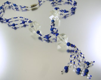 Blue Glass Art Deco Beaded Necklace