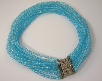 Art Deco Twelve Strand Blue Glass Necklace with Rhinestone Clasp
