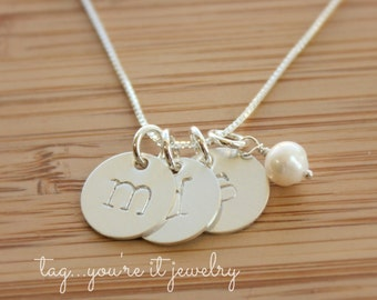 Name Necklace, Initial Necklace for Moms, Grandma Necklace, Large Letter Necklace, Sterling Silver
