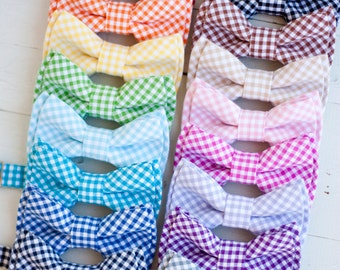 Bow Tie, Bow Ties, Bowties, Boys Bow Ties, Baby Bow Ties, Bowties, Ring Bearer, Ties, Tie - Gingham Collection (Clip or Strap Selection)