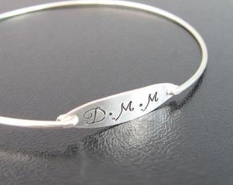 Silver Monogram Bracelet, Monogram Jewelry, Monogram Gift for Women, Monogram Bangle Bracelet, Monogram Jewerly, Monogram Silver Bracelet