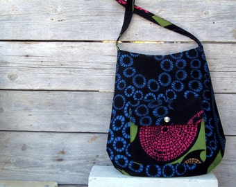 Medium shoulder bag in black blue and pink - cotton fabric tote with abstract geometric pattern