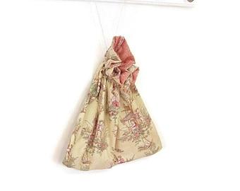 Drawstring bag yellow pink toile
