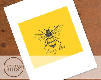 Honey Bee in Mustard Wall Art - Instant Printable
