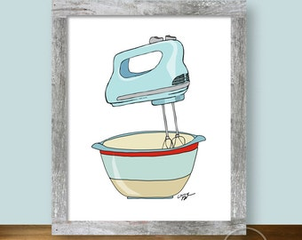 Mixer and Bowl Illustration - 8x10 Kitchen Wall Art Instant Printable
