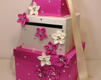Hot Pink and Ivory Wedding Card Box Gift Card Box Money Box Holder--Customize your color