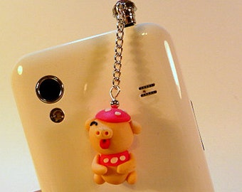 Dust plug, cell phone charm, pig charm, crystal, bling, iphone, android, handmade