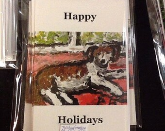 "Five 5x7 note cards with envelopes.  ""Beagle on Red Carpet""'"