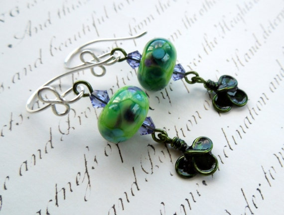 Clover lampwork and resin leaf green and purple sterling silver earrings
