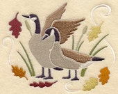 Goose Fall Autumn Leaves Embroidered Cabin Kitchen Towel Rustic Lodge Home Decor