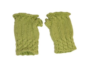 Cabled Green Fingerless Mittens