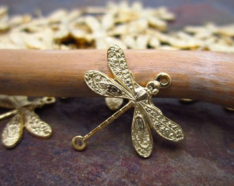 6 Matte Gold Brass Delicate Dragonfly Connectors