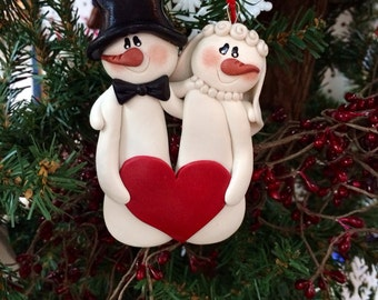 Newlywed Personalized Polymer Clay Snowman Christmas Ornament