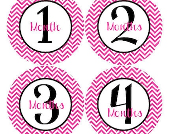 Baby Month Stickers Baby Girl Monthly Milestone Stickers Hot Pink Chevron Baby Girl Month Stickers Baby Shower Gift and Photo Prop Jenny